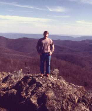 [John Santic standing on Bearfence Mountain in Shenandoah National Park]